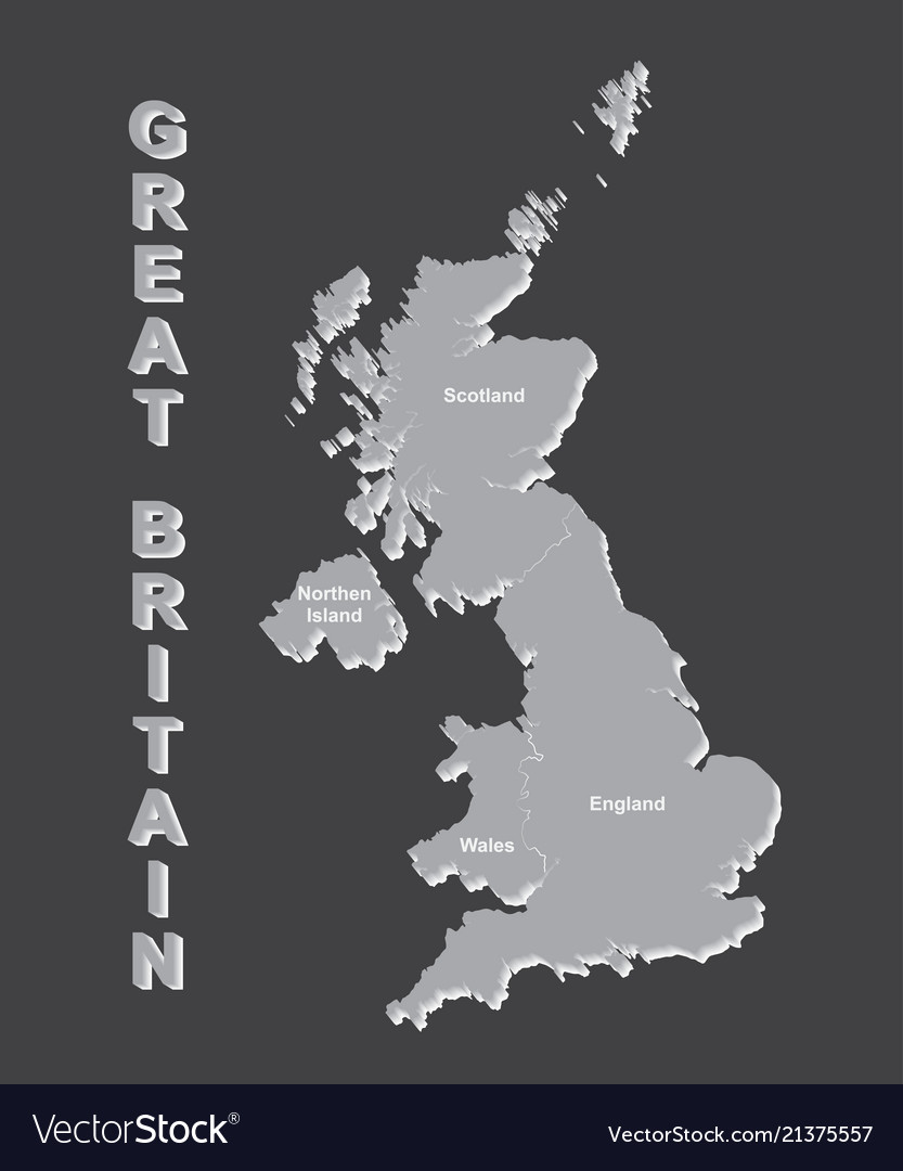 United kingdom map uk map with borders on grey