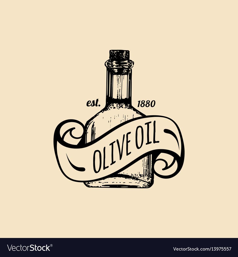 Vintage olive logo retro emblem with