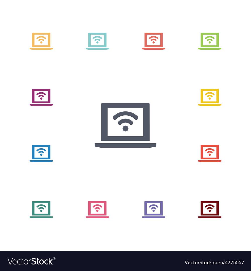 Wifi laptop flat icons set vector image