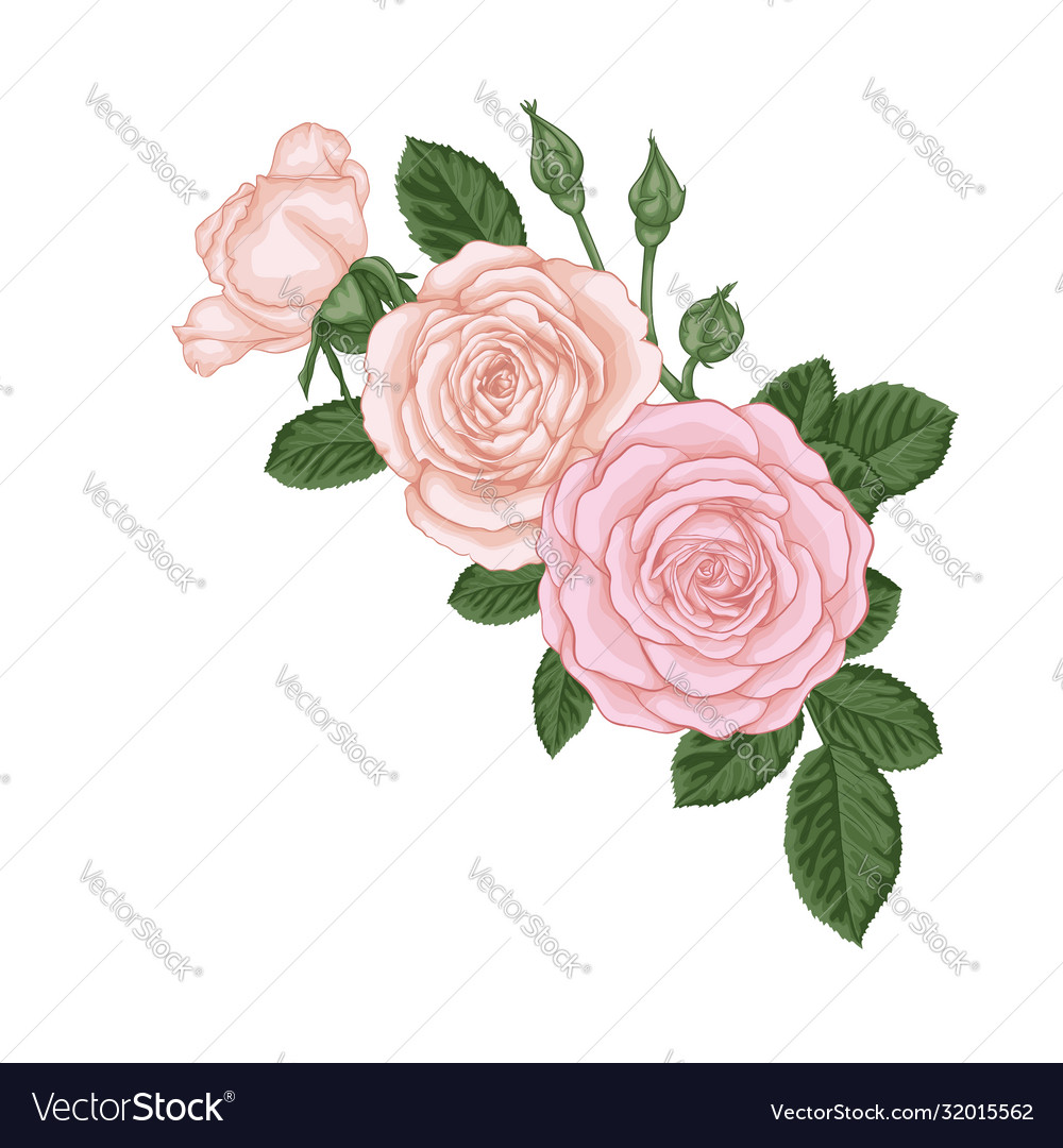 Beautiful bouquet with vintage pink roses buds