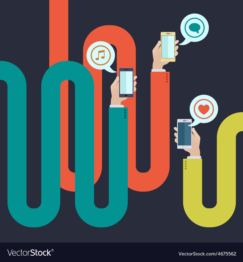 Curved long arms holding smartphones vector image