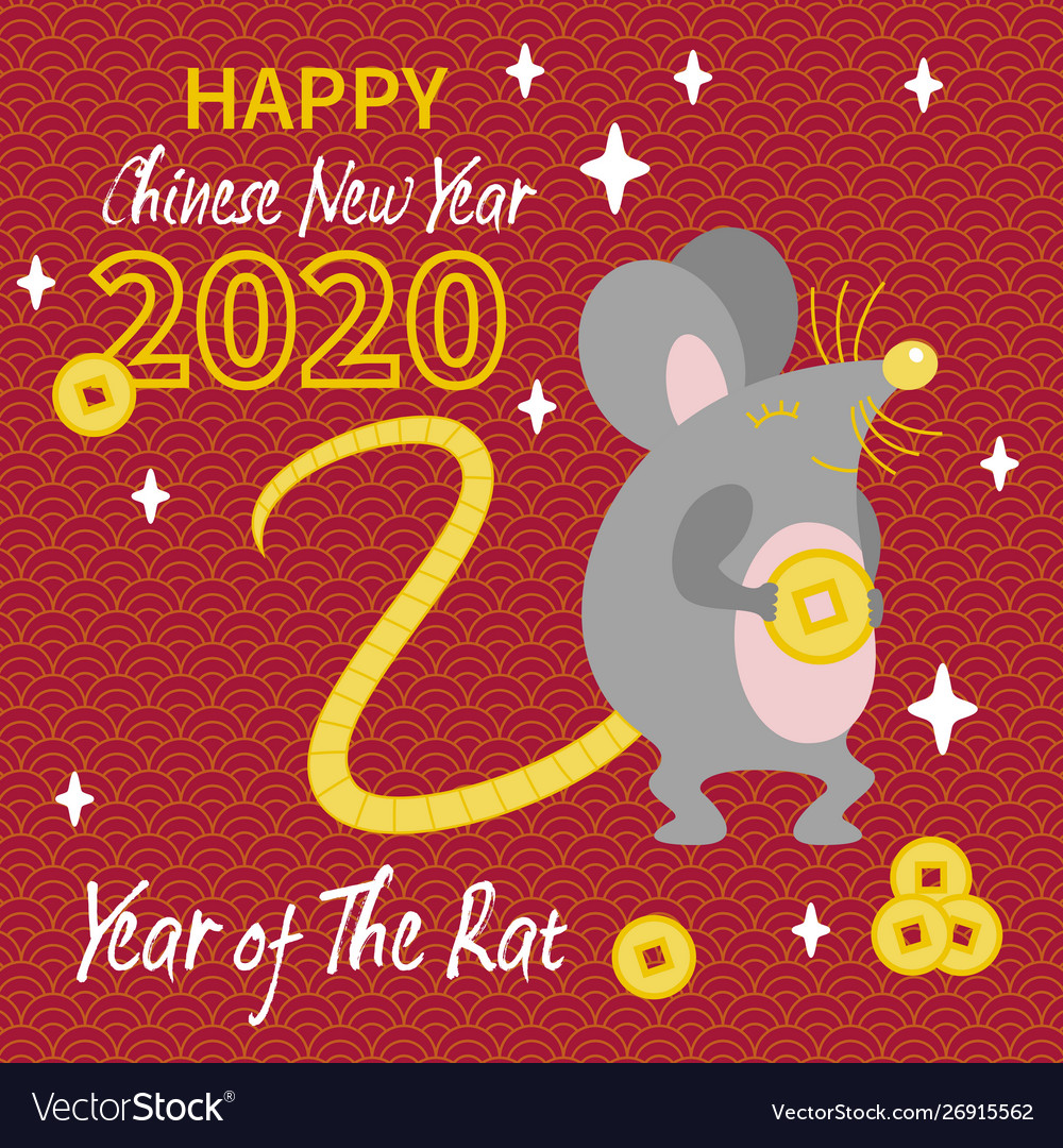 Cute gray rat with gold coin