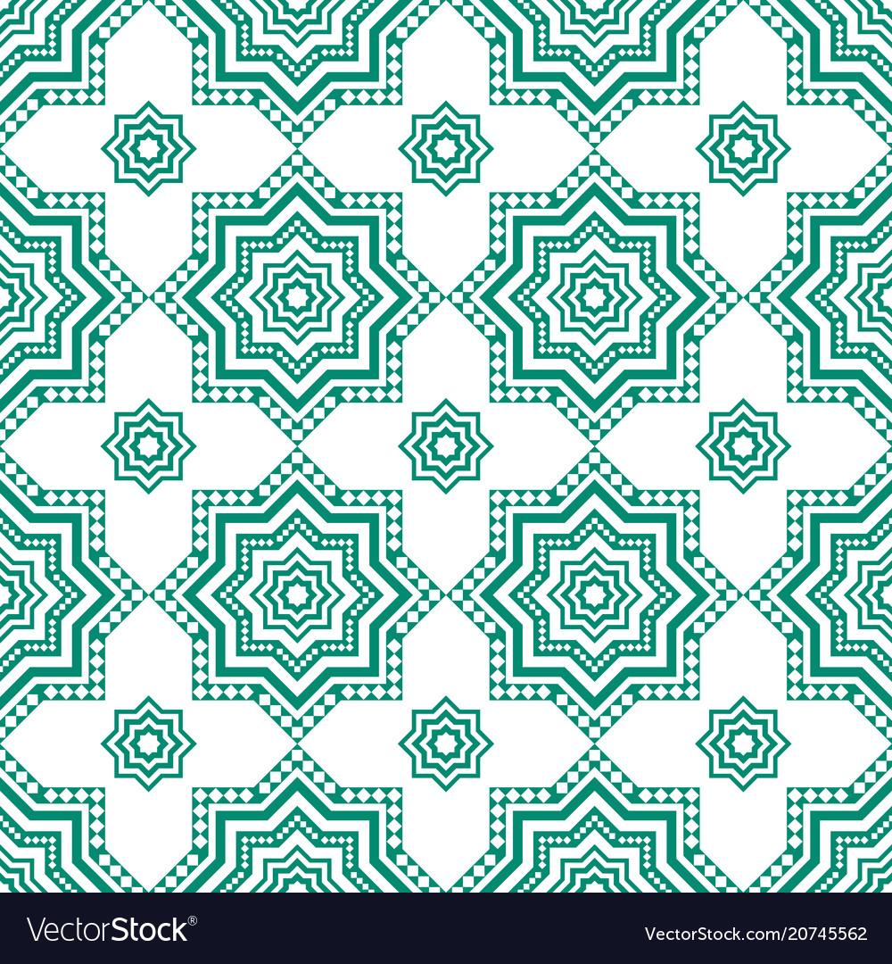 Decorative arabian pattern green seamless arabic vector image