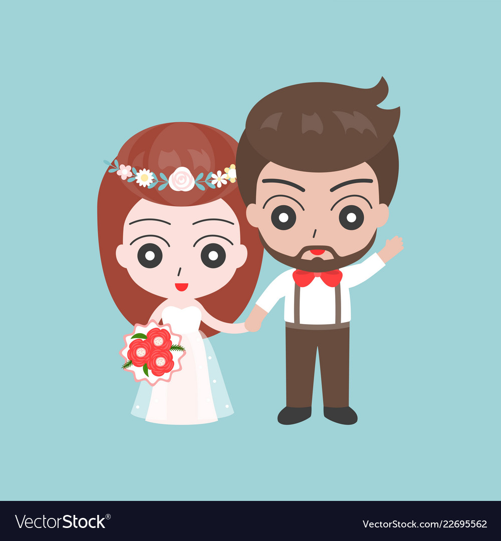 Groom and bride holding hands cute character