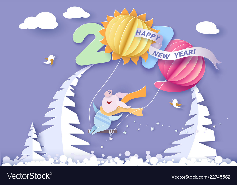 happy new year card color paper cut design vector image