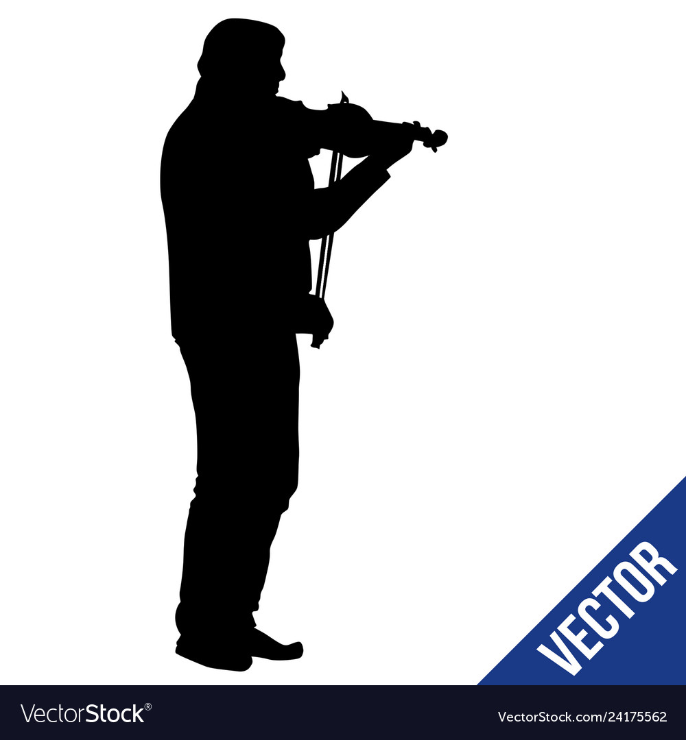 Man silhouette playing violin on white