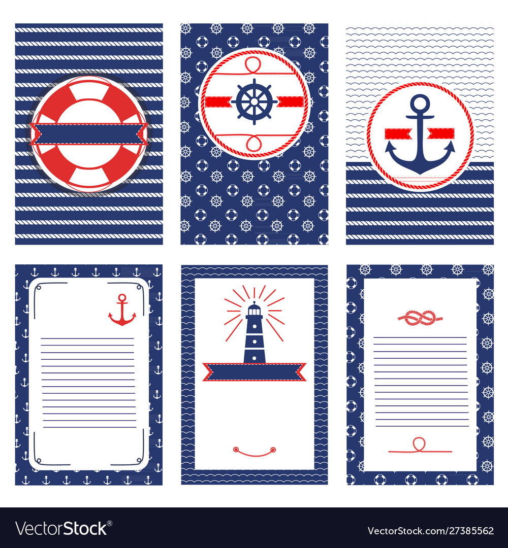 Set nautical and marine banners and flyers