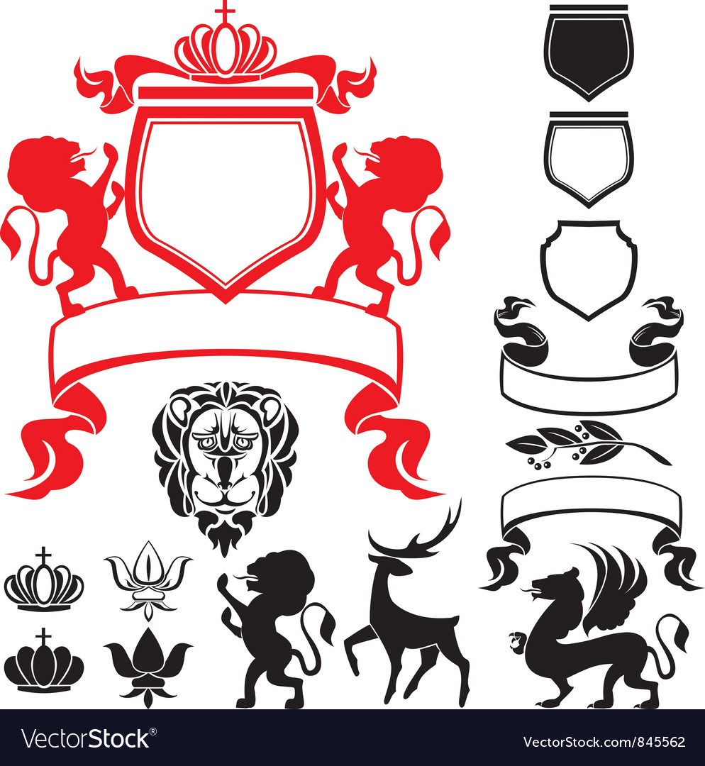 Set of heraldic silhouettes