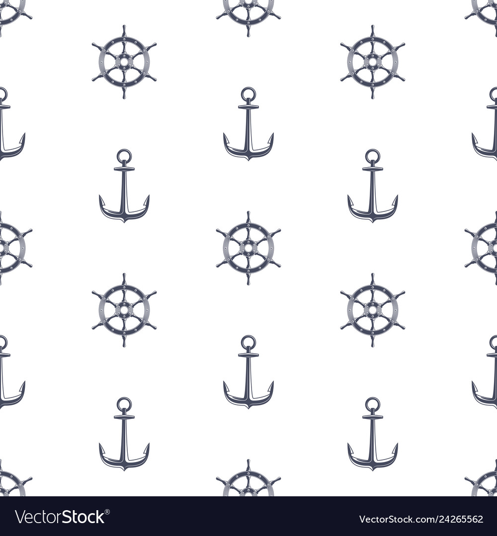 Ship wheel and anchor pattern