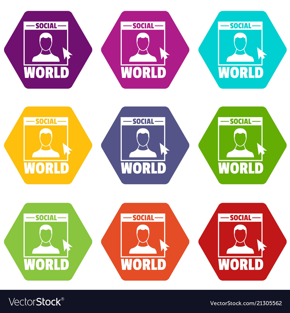 Social world icons set 9