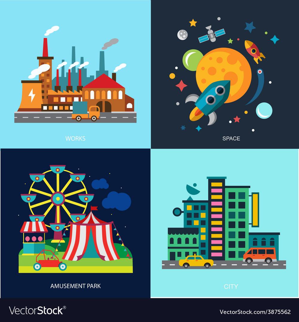 Various cityscapes colored houses amusement park