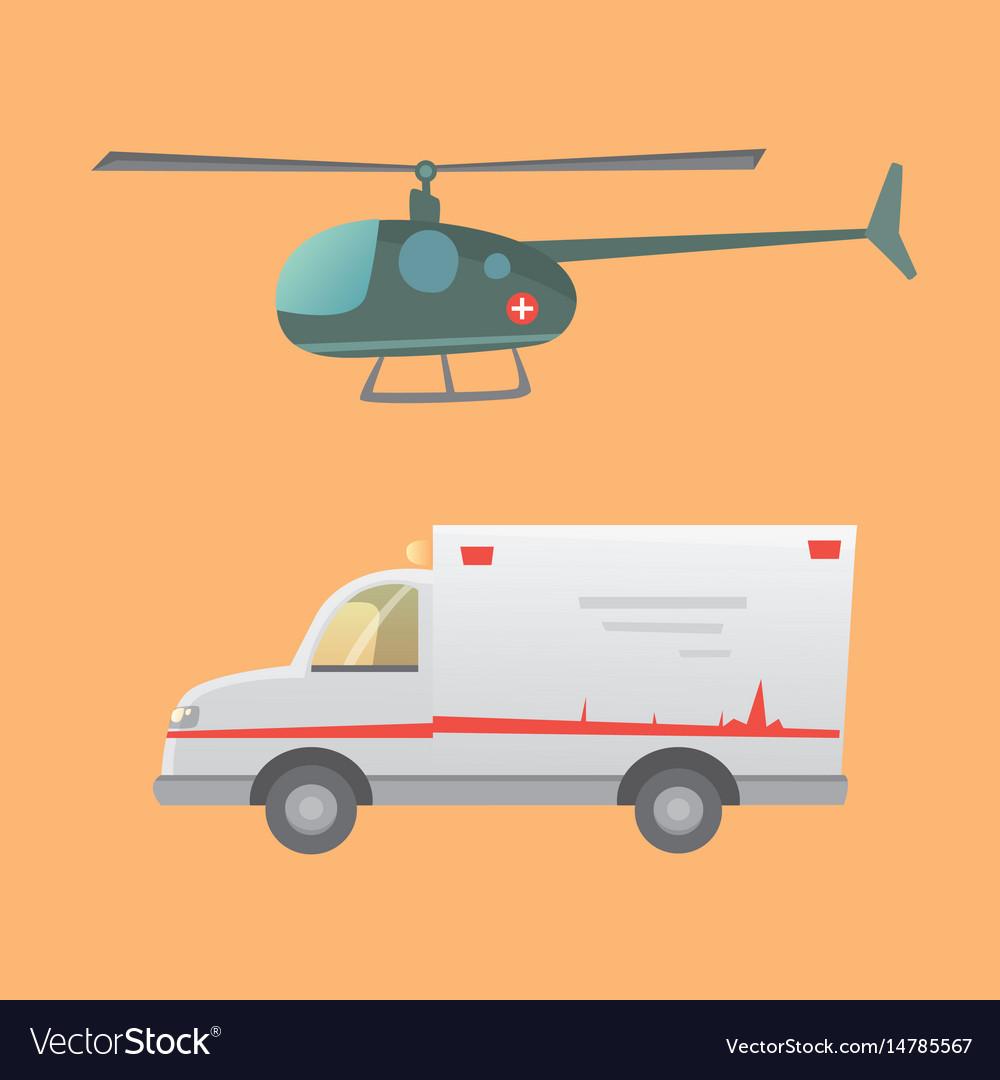 Ambulance car flat design