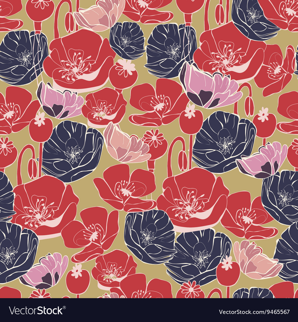 Beautiful poppy flowers pattern background