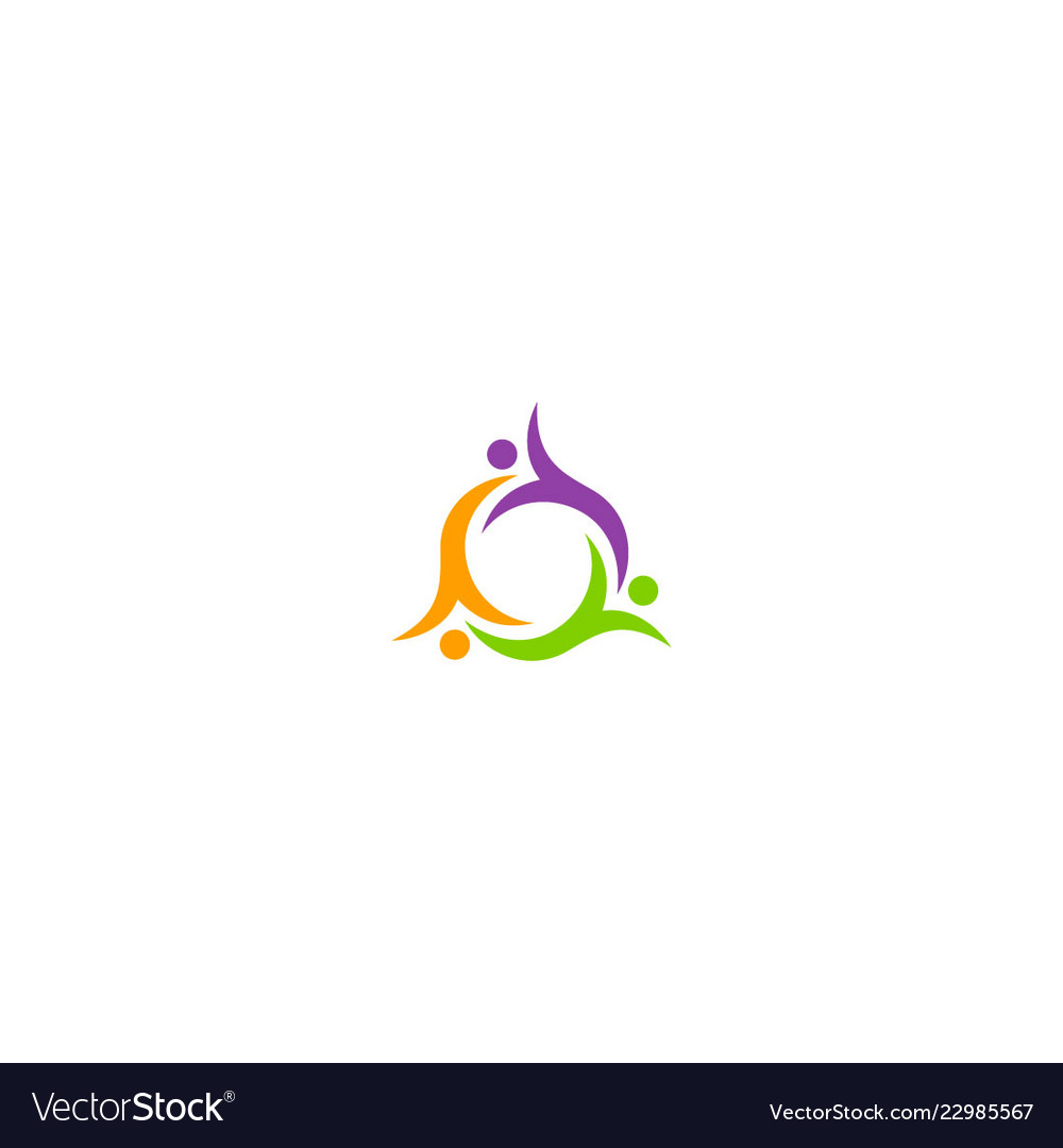 Circle abstract people unity colored logo