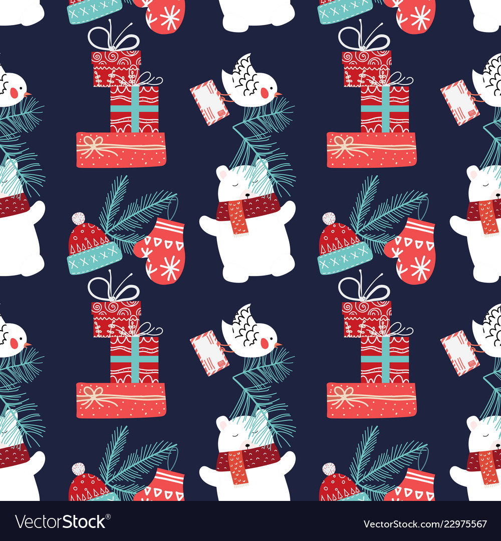 Cute christmas and new year seamless pattern with