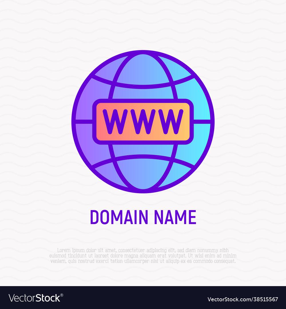 Domain name thin line icon modern