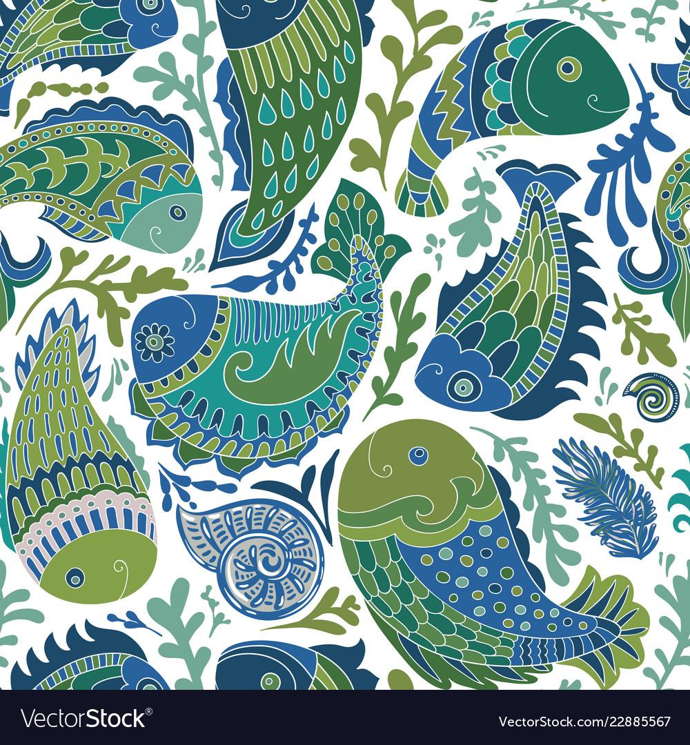 Hand drawn seamless pattern with paisley fish