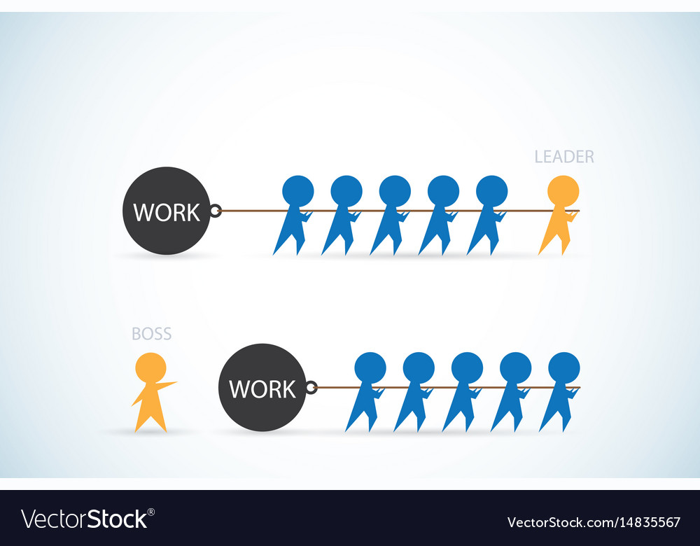 Leader vs boss leadership and business concept