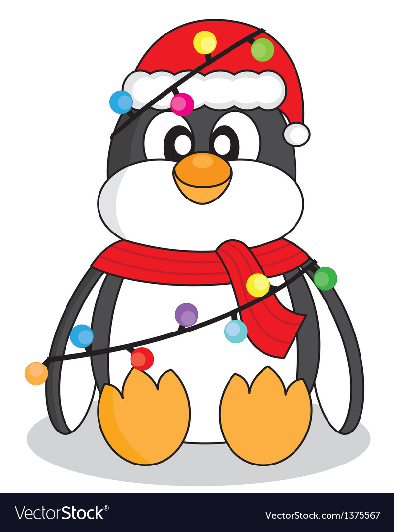 Christmas Lights Cartoon.Penguin With Christmas Lights