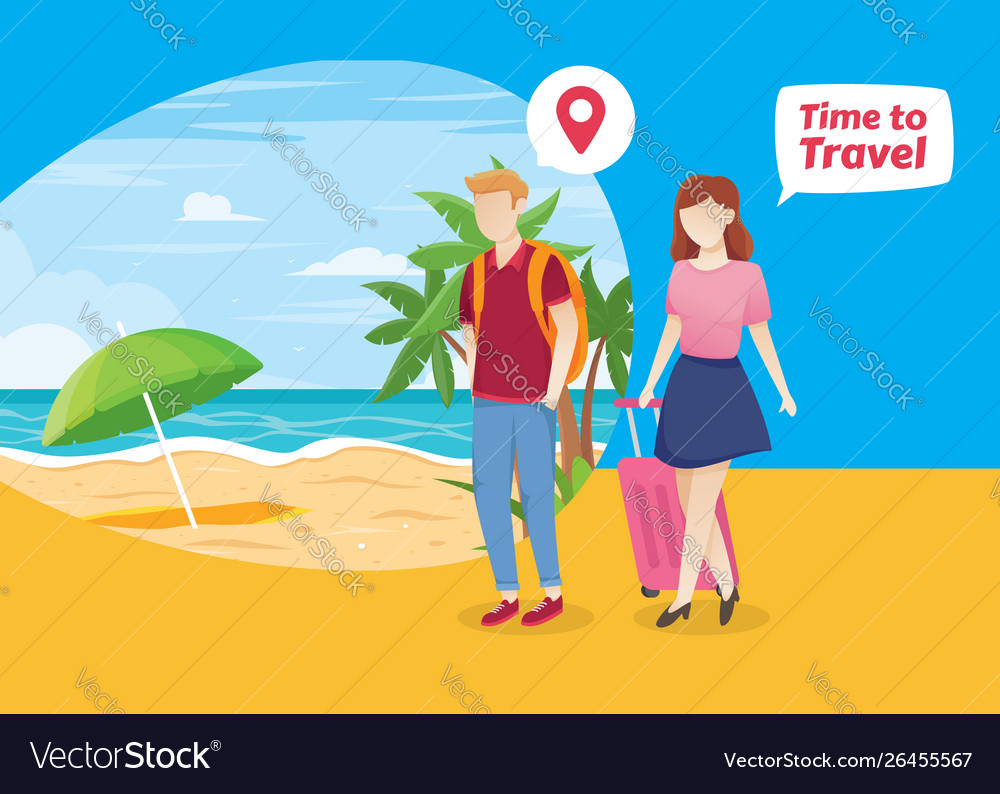People vacation to tropical island