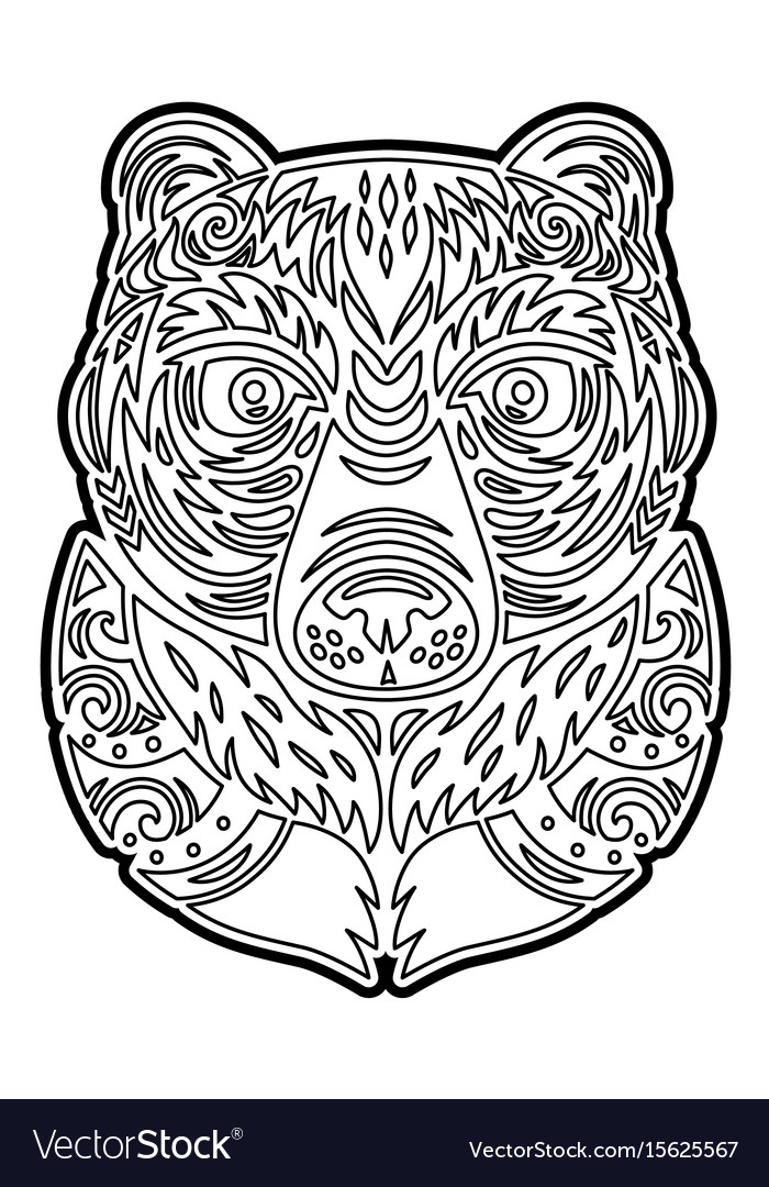 Polynesian tiki totem bear mask coloring page