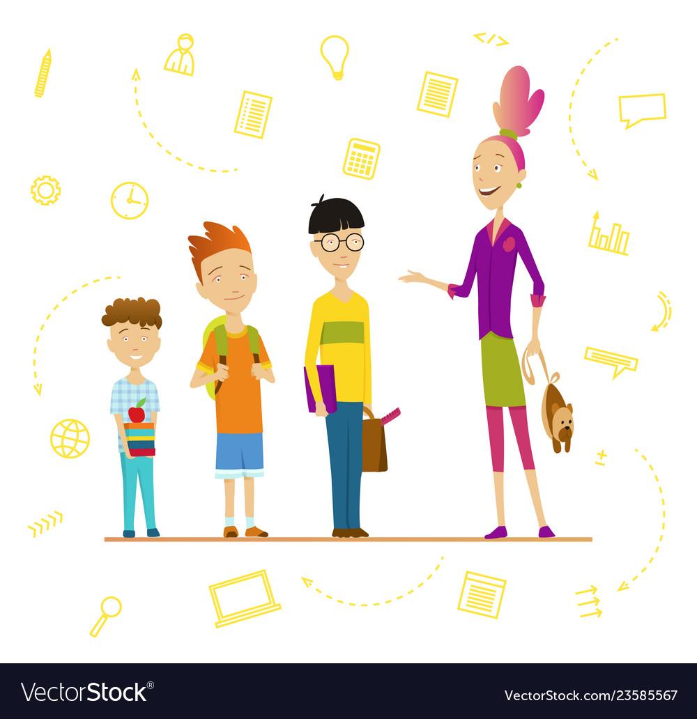 Schoolchildren and senior pupil school boys and