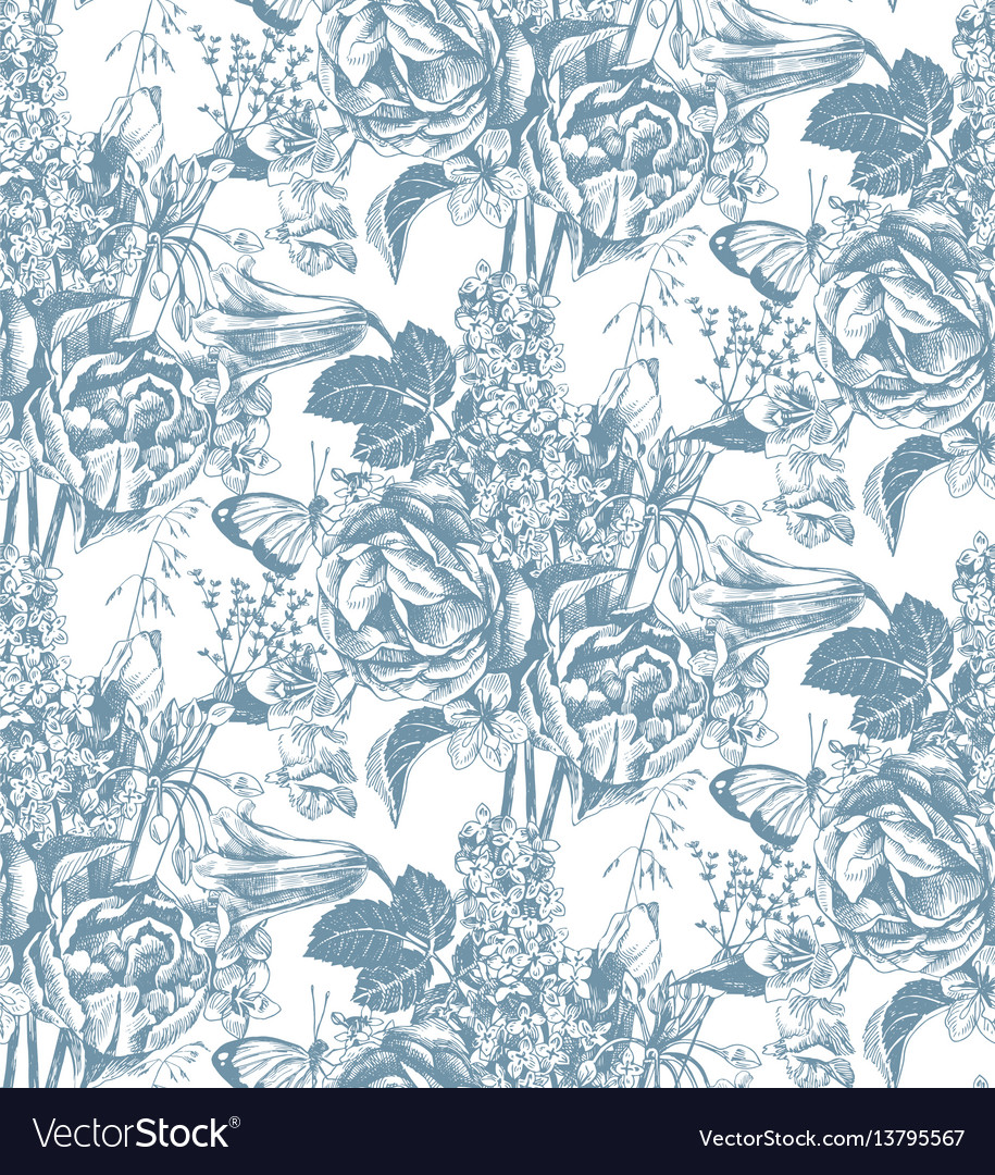 Seamless pattern with hand drawn garden flowers