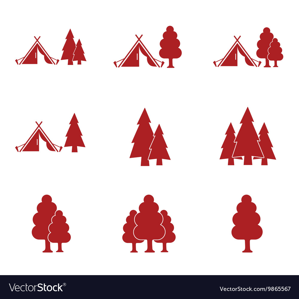 Set of tourist tent and forest icons