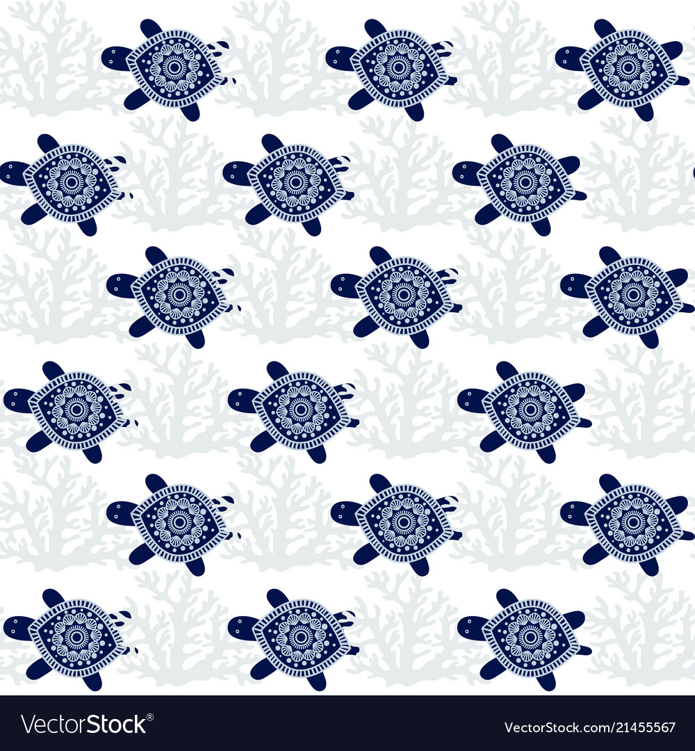 Turtles seamless pattern