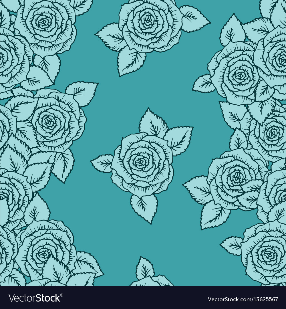 Vintage seamless pattern with garden roses on