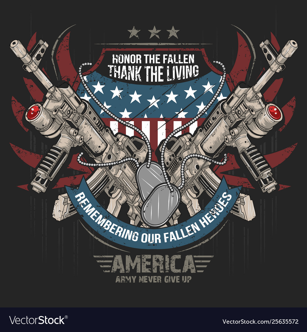 America machine gun and usa army flag editable lay