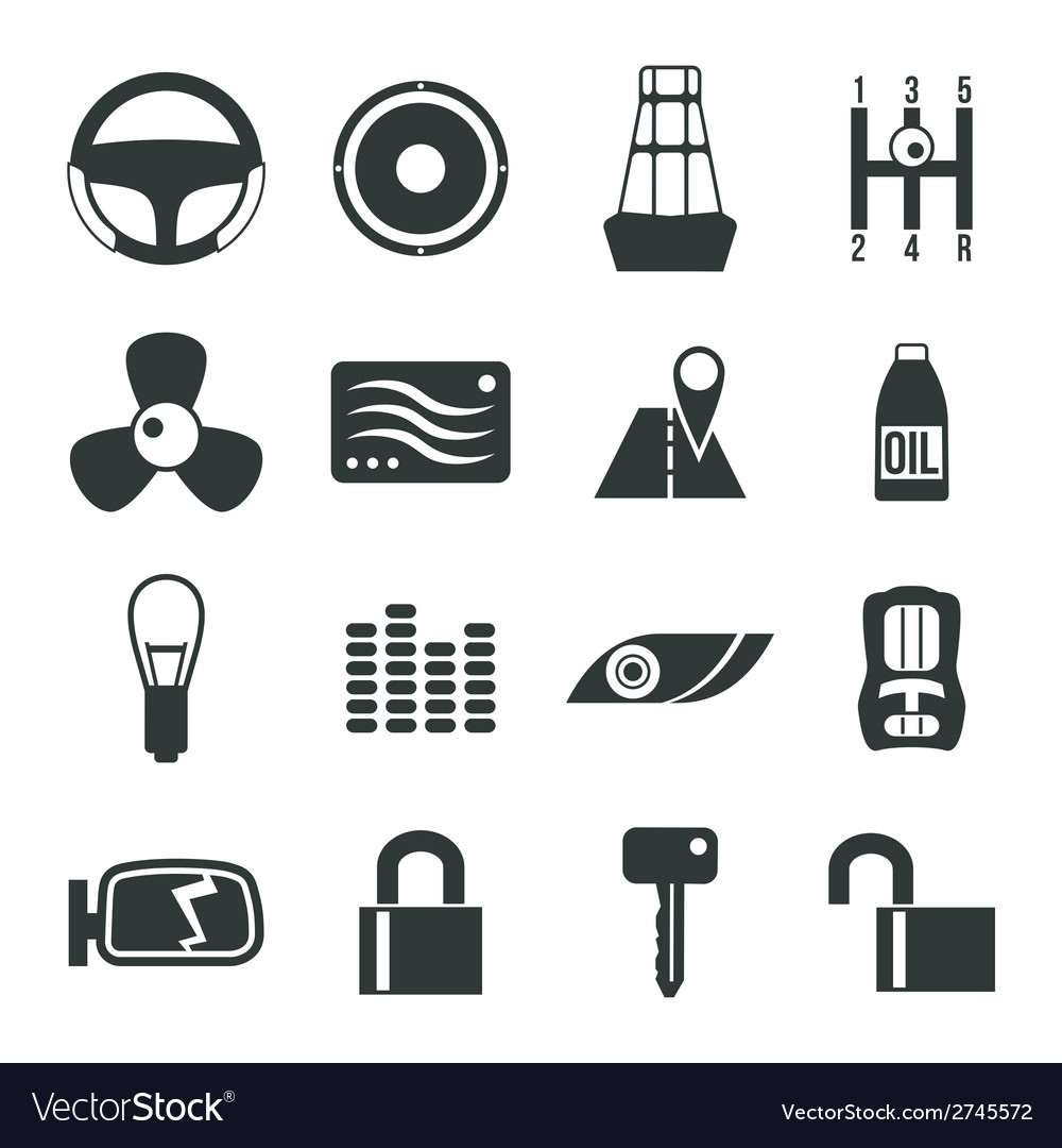 Auto accessories icons set