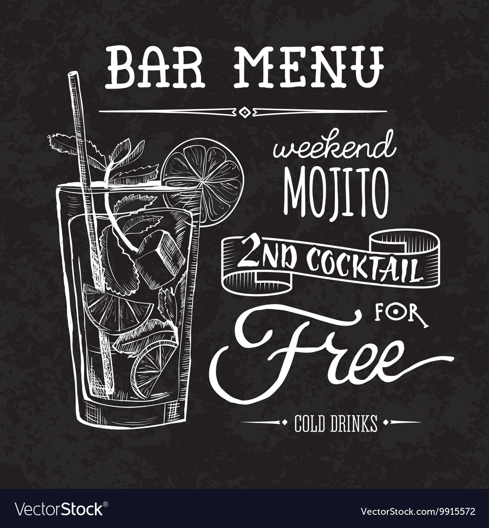 Bar menu of cocktail proposal