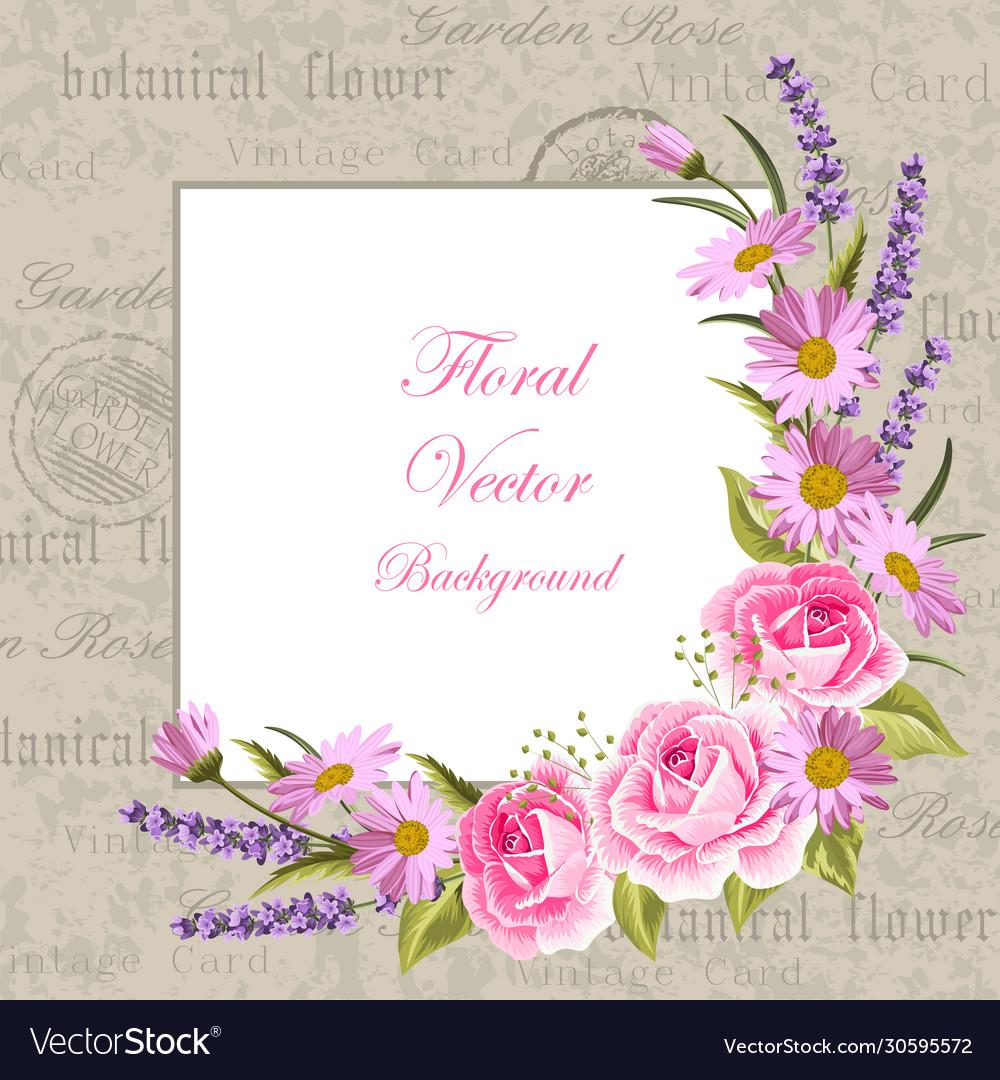 Beautiful flowers for invitation card vintage