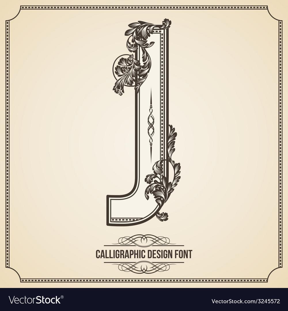 Calligraphic font Letter J vector image