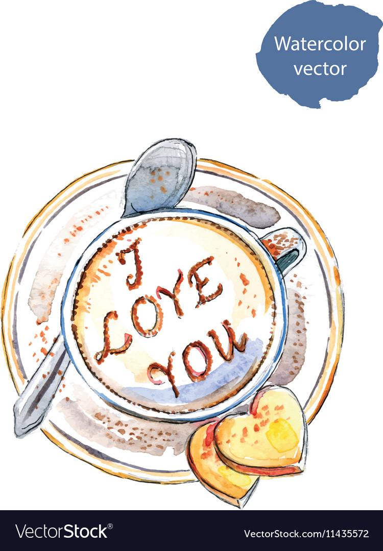Coffee I love you vector image