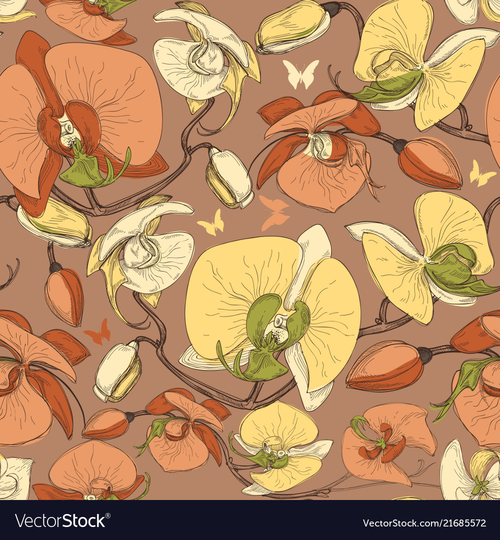 Floral seamless pattern ochid flowers design