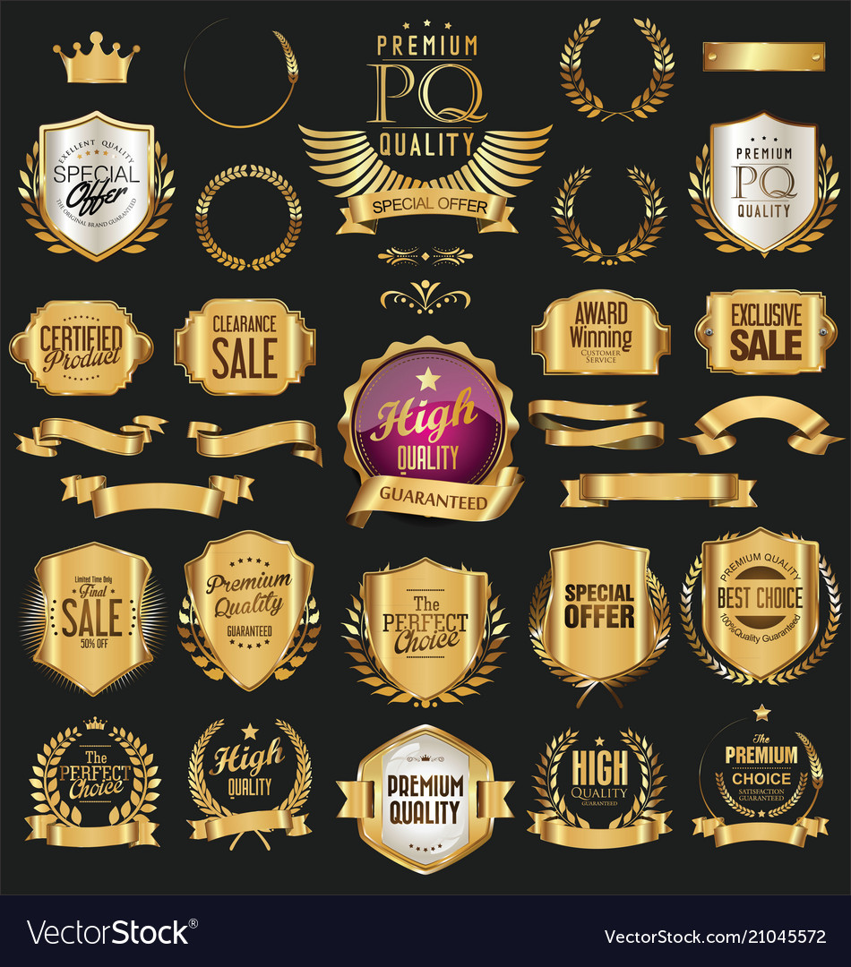 Golden retro labels badges frames and ribbons