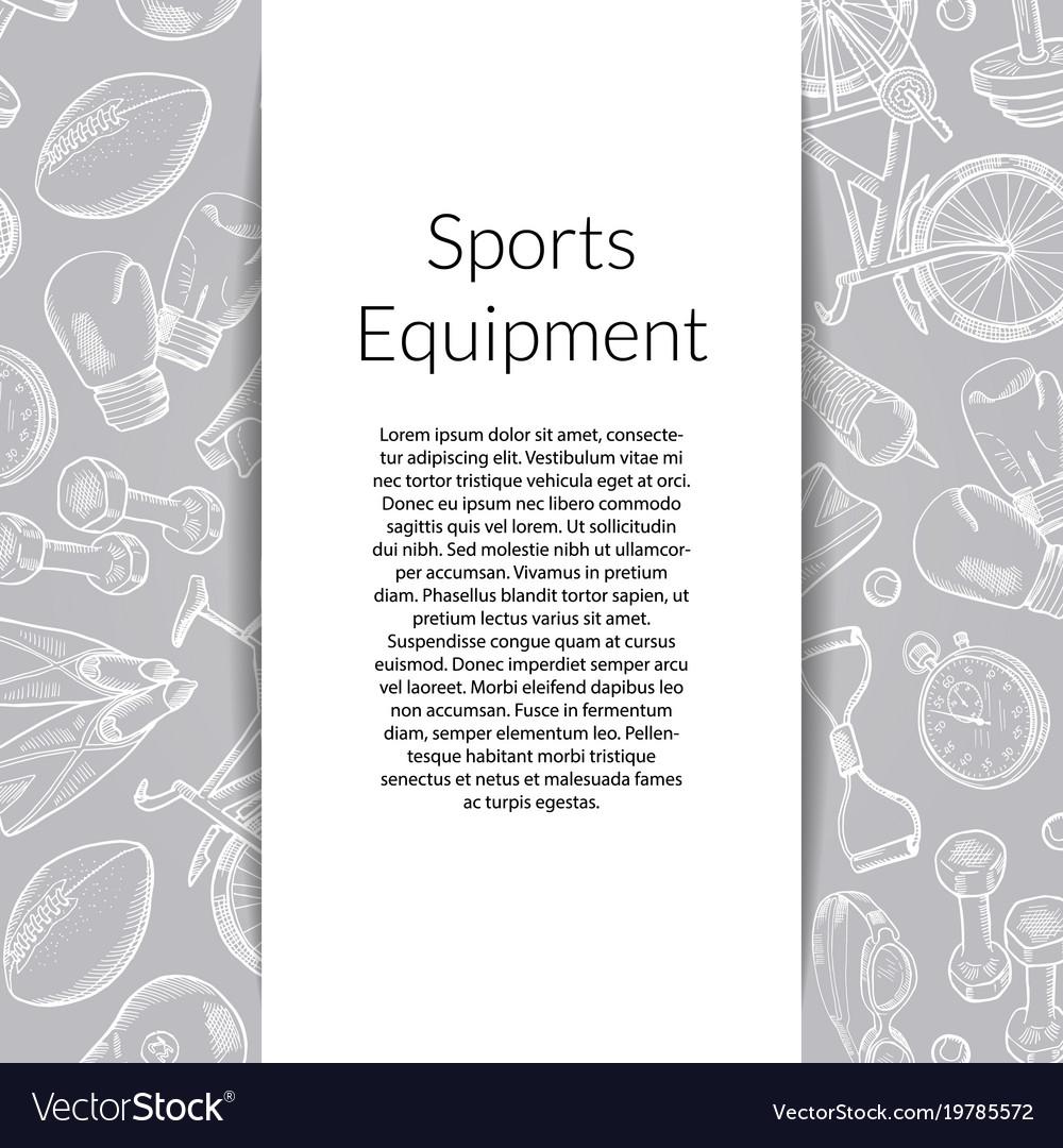 Hand drawn sports equipment background