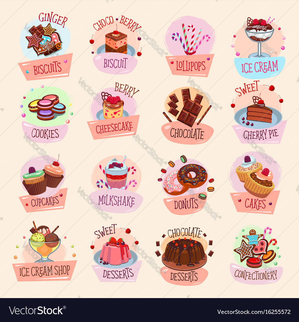 Icons bakery cakes confectionery desserts