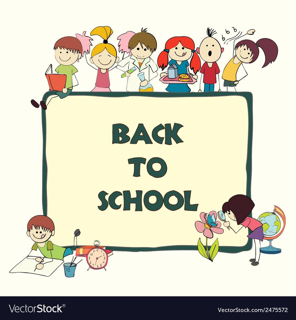 Kids school sketch banner