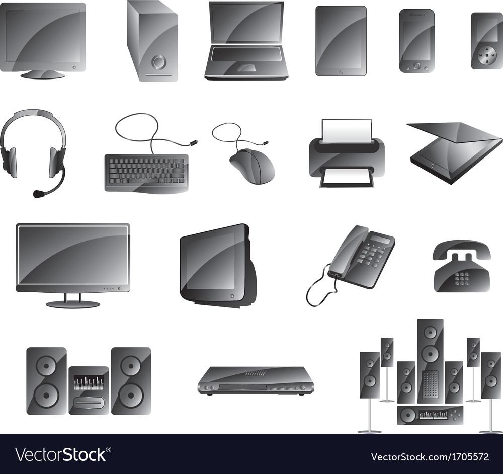 Media Icon Set Glossy Gray Color
