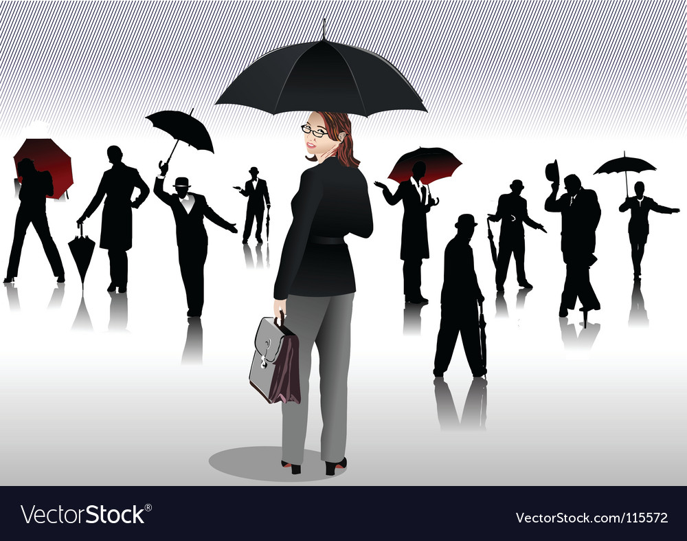 People with umbrellas vector image