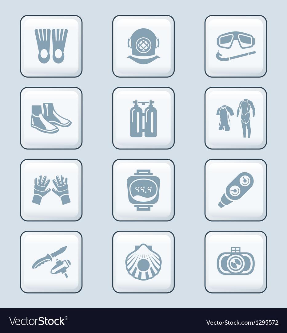 Scuba diving icons - TECH series vector image