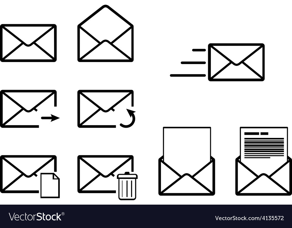 Set of envelope outline icons for mail interface