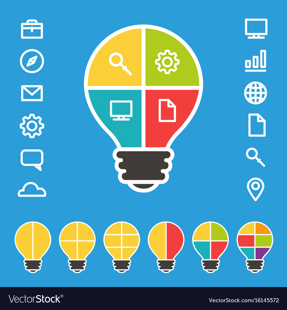 Simple lightbulb diagram with set of icons