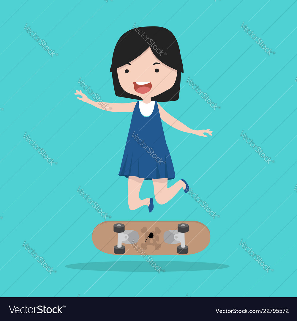Small girl with skateboard