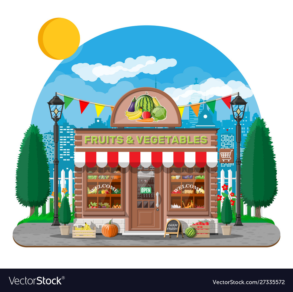 Street shop building fruit and vegetable store
