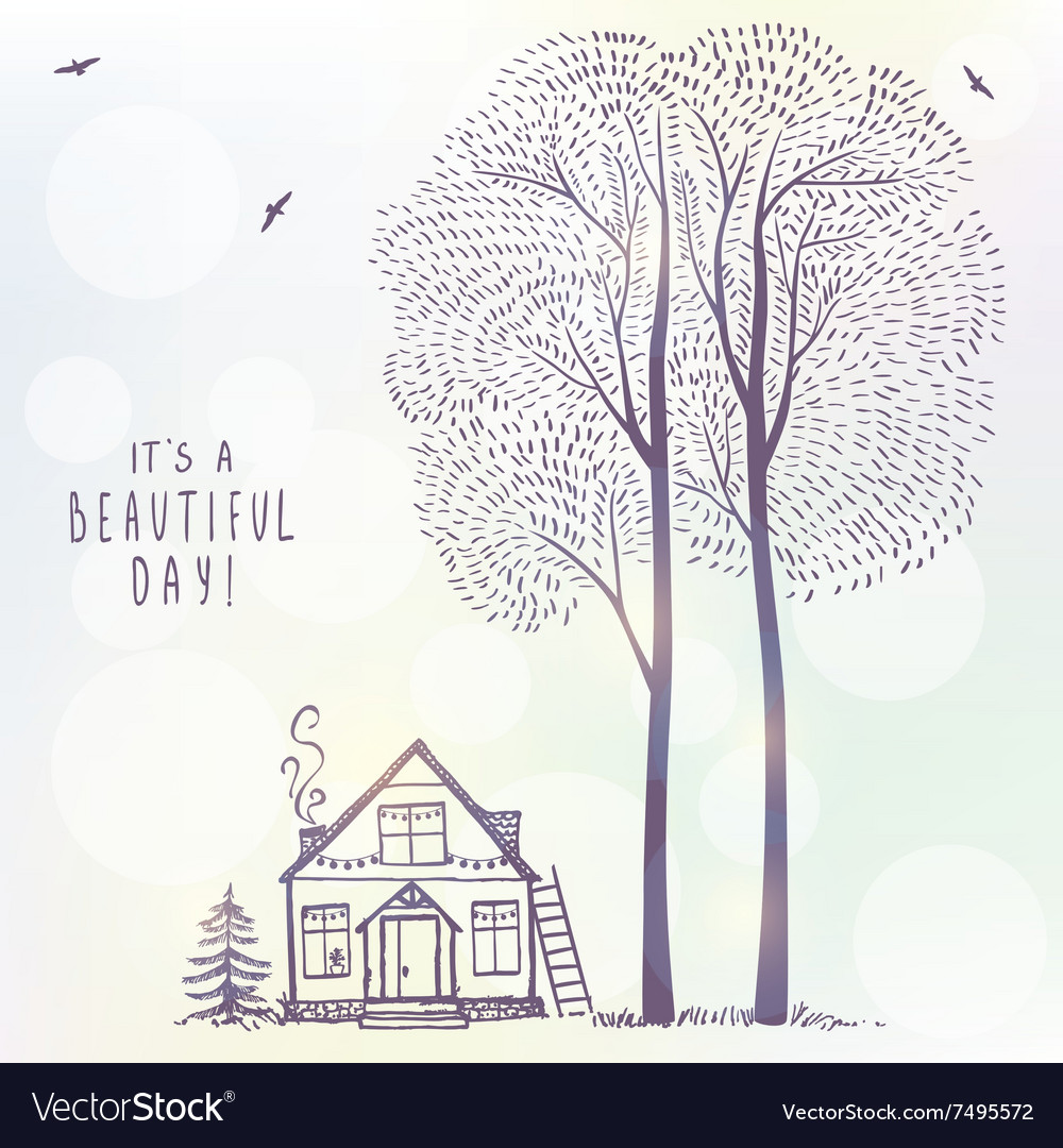 Tree and house doodle vector image