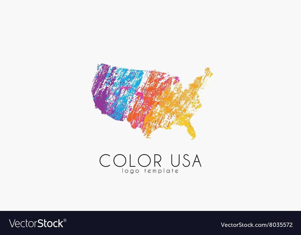 Usa Logo Color Map Of Usa America Logo Design Vector Image